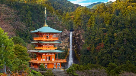 Make a pilgrimage to the majestic temple at Nachi Falls