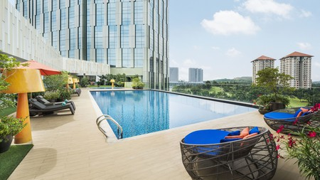 There's a splash of colour in Le Meridien Putrajaya's rooms – and around its pool