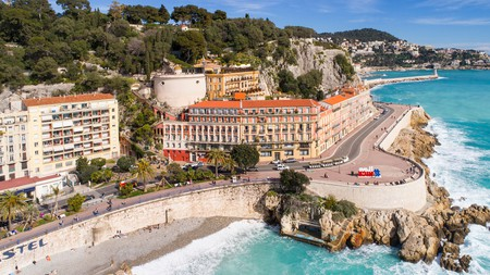 The Promenade des Anglais, overlooking the Med, is where you'll find some of the best hotels in Nice