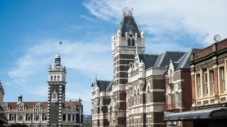 Dunedin District Courts and train station, Dunedin, South Island, New Zealand