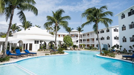 Relax poolside at the Ocean Palms Residences in Cabarete in the Dominican Republic