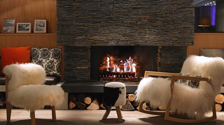 Hotel Le Savoy, with roaring fire and sheepskin aplenty, is one of several chic mountain lodges in Méribel
