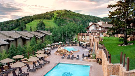 The luxurious Stein Eriksen Lodge sits at the foot of the Wasatch Mountains in Park City, Utah