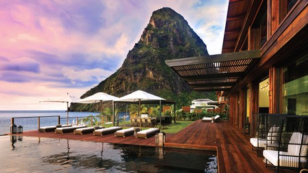 Sugar Beach, A Viceroy Resort overlooks the spectacular Pitons rock formations out to sea