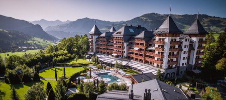 Gstaad's luxury hotels, such as the Alpina, have glorious mountain views