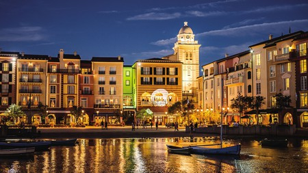 Universal's Loews Portofino Bay Hotel has waterways and walking paths that connect to Universal Studios Florida and Islands of Adventure