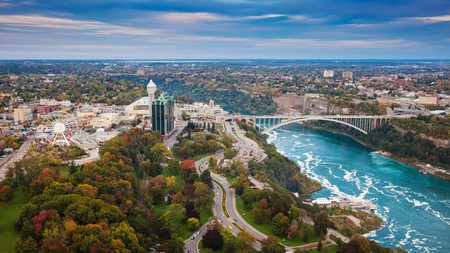 The Rainbow Bridge connects the American side of Niagara Falls with the Canadian side