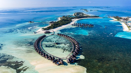 Aerial view over Olhuveli and Bodufinolhu with Fun Island Resort, South Male Atoll, Maldives