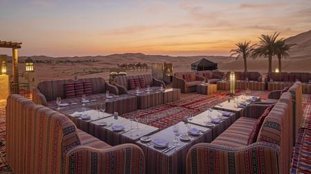 Outdoor dining at the Qasr Al Sarab Desert Resort