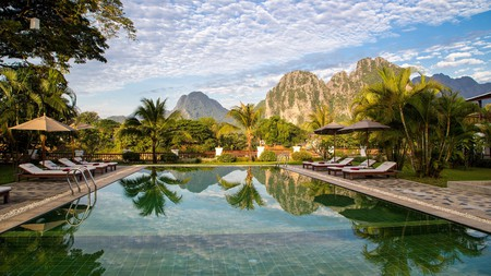 Enjoy the extraordinary landscapes of Laos at the Riverside Boutique Resort in Vang Vieng