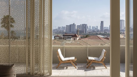 A view of Tel Aviv's skyline from a terrace at The Jaffa Hotel