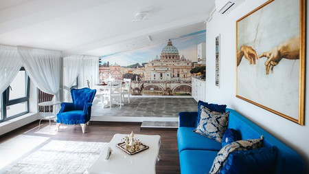 Every room in the Evianne Boutique Hotel is based on a different colour scheme, including floor-to-ceiling murals in some
