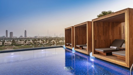 The view of Dubai from the rooftop pool at Aloft City Centre Deira