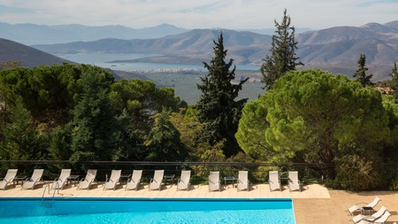 The Amalia Hotel delights guests with a large swimming pool and an unforgettable view