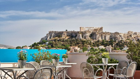 The Arion Hotel's seventh-floor terrace has an excellent view of the Acropolis