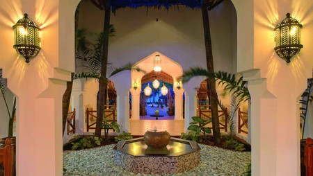 A courtyard at Bluebay Beach Resort