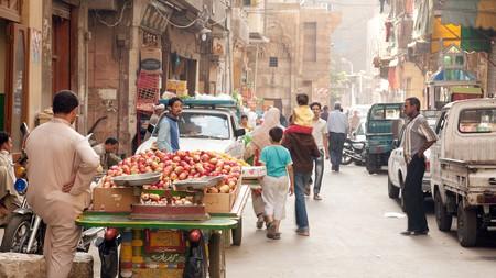 The bustling street scene in Cairo's Khan al Khalili market, the Islamic Quarter