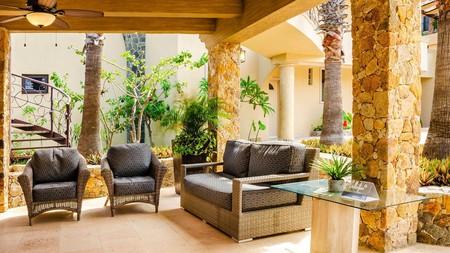 A shady spot to sit in at Irish-themed Castillo Blarney Inn in Cabo San Lucas, Mexico