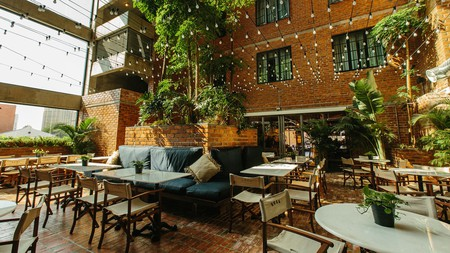 The bright courtyard cafe at Rosa Malacca