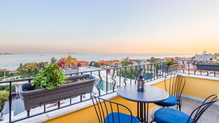 Enjoy Bosporus views from the terrace of Poem Hotel