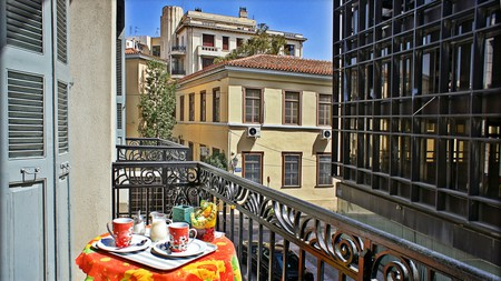Private rooms at Dioskouros Hostel come with sunny balconies