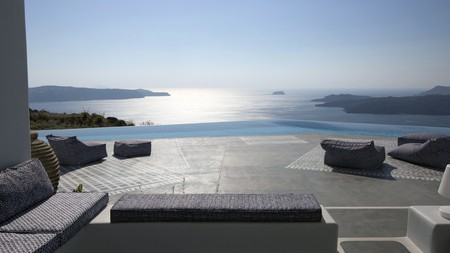 Enjoy incredible panoramas and an intimate, luxurious stay at Erosantorini on Santorini