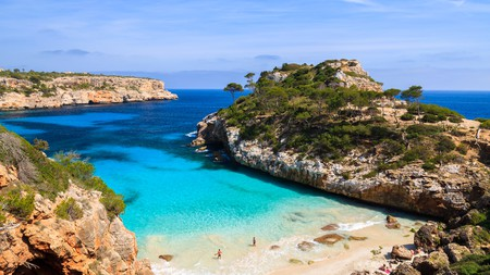 View of Calo des Moro beach and its azure blue water, a typical sight on the island of Mallorca