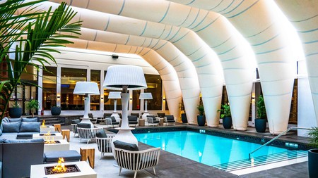 Calgary's Hotel Arts boasts an original, innovative design that enables guests to access its outdoor pool year-round