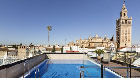 The rooftop pool at Hotel Casa 1800 overlooks the cathedral