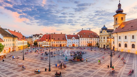 The Grand Square of Sibiu, with a view of Brukenthal Palace