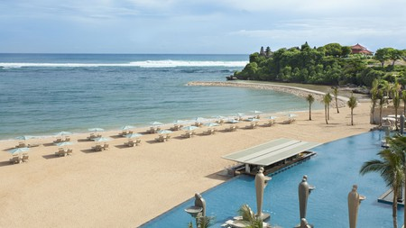 The spectacular beach of Nusa Dua is a prime destination for locals to enjoy the Indian Ocean