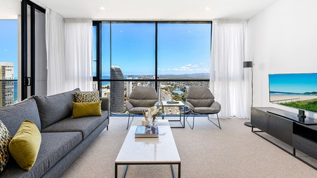 Qube Broadbeach is a beachside 40-level complex with sweeping ocean views