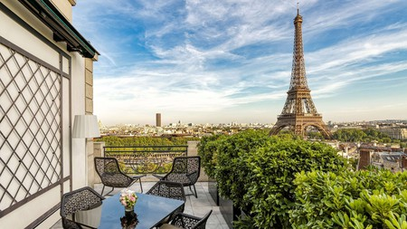 A view of the Eiffel Tower from a terrace at Shangri-La Hotel Paris