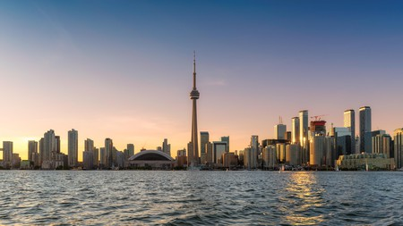 Toronto's skyline at sunset