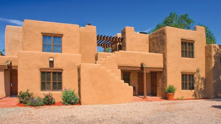 Enjoy Santa Fe's red rock landscape from your own private patio at WorldMark Apartments.
