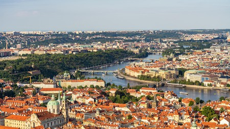 The rooftops of Prague seen from the Petřín Lookout Tower