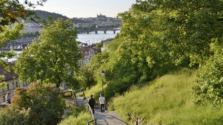 Vysehrad Park with views over the Vltava River in Prague