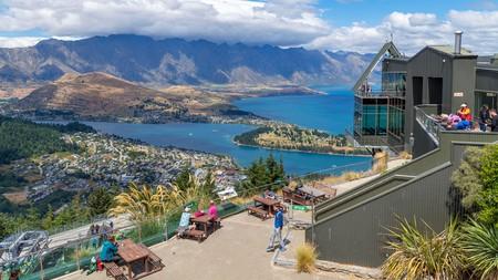 View over the city and Lake Wakatipu from the top of the Skyline Gondola, Bob's Peak