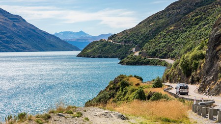 A campervan is a great way to explore beauty at home,such as this scenic drive beside Lake Wakatipu, in New Zealand