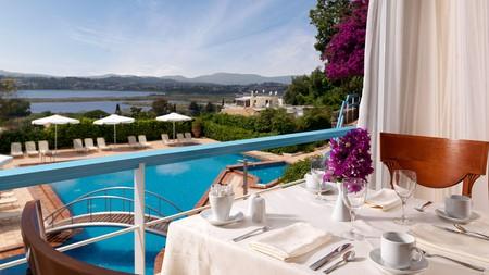 The poolside view at Divani Corfu Palace