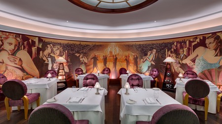 The Michelin-starred Alcron creates an art-deco atmosphere with its vast mural of dancing couples