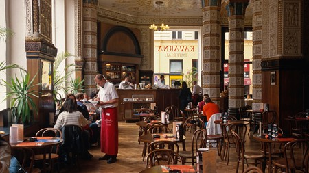 The gorgeous art deco interior of Café Imperial, Prague