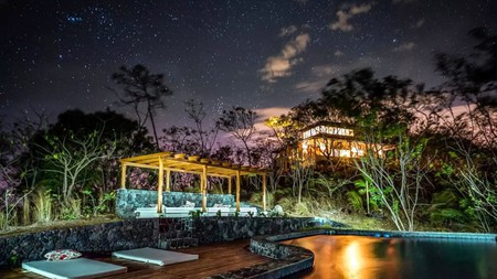Marvel at the starry night sky by the outdoor pool at El Respiro Ecolodge in Granada, Nicaragua