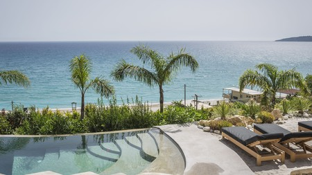 The pool at F Zeen Retreat overlooks Lourdas Beach