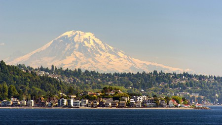 Mount Rainier looms over Seattle on the Pacific West Coast