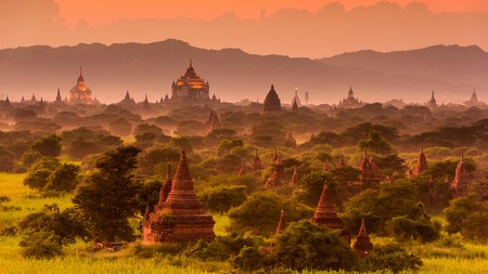 The pagodas in the archaeological zone of Bagan, Myanmar, are an impressive sight