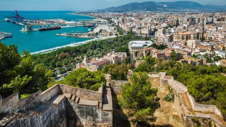 From the hill Gibralfaro, you get a great view over Málaga, Spain, and its port