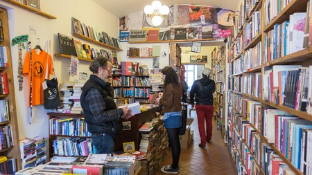 Shakespeare and Sons independent bookstore in the Mala Strana district of Prague