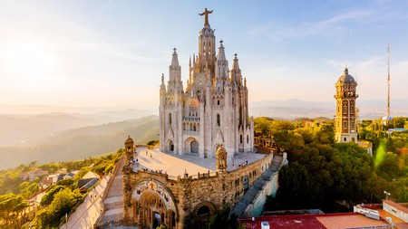 Aerial view of Barcelona skyline with Sagrat Cor temple, Catalonia
