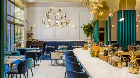 Admire the original design of Hotel Moments Budapest while sipping a cocktail at the bar